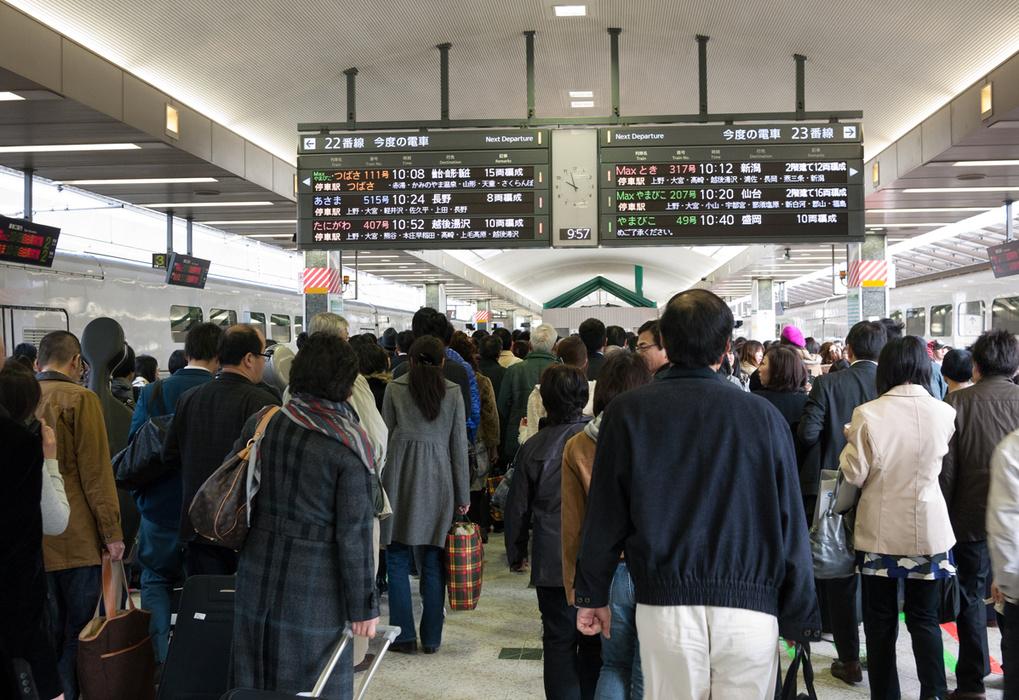 catching the Shinkansen in Tokyo
